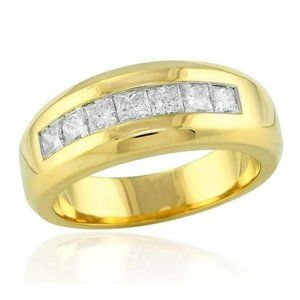 14K Yellow Gold 1.00 Ct  Princess Cut Diamond Mens